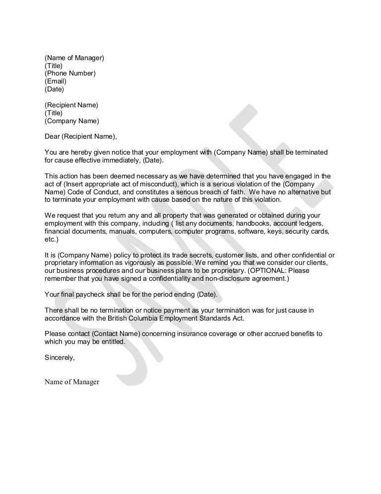 sample letters of termination - Minimfagency