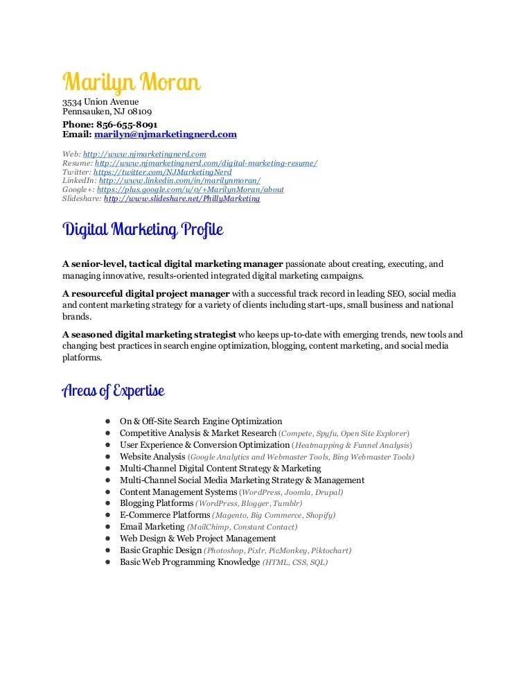 resume for marketing manager - Josemulinohouse