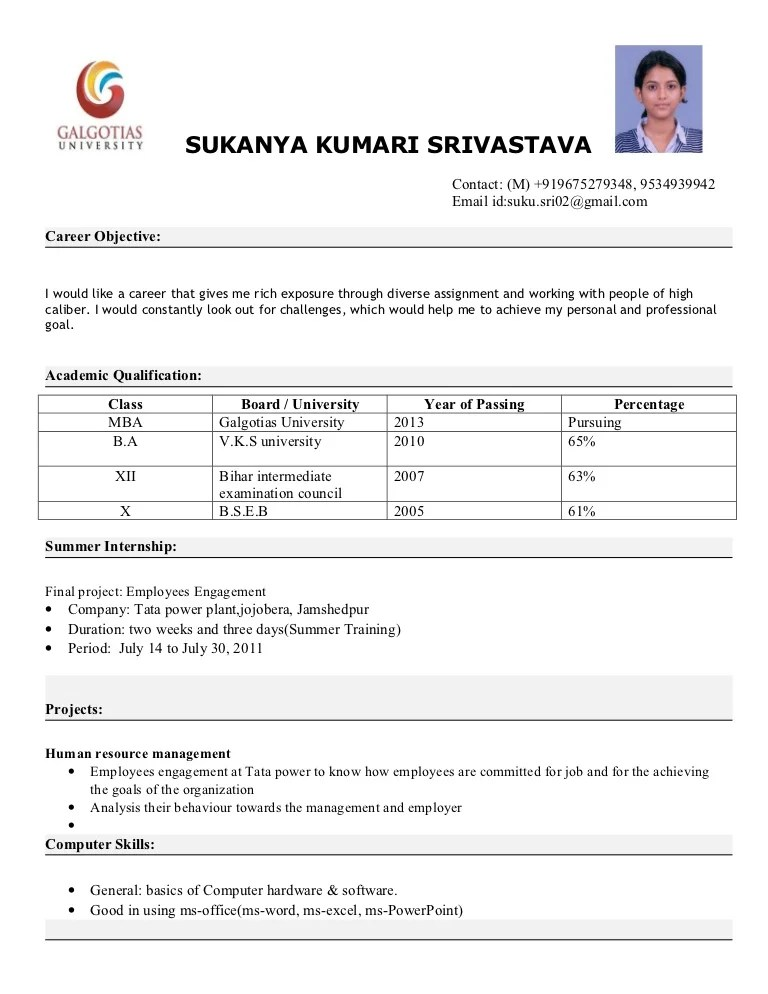 cv format for mba students - Selol-ink - Mba Application Resume Format