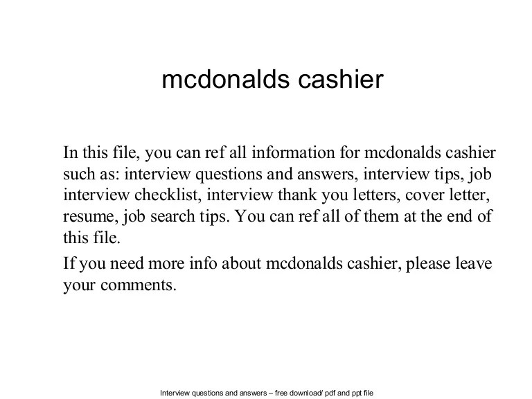 mcdonalds cashier duties - Kordurmoorddiner