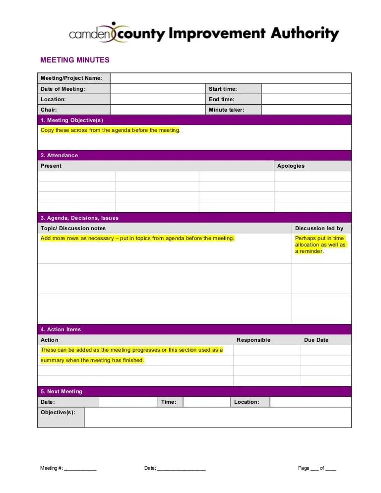 meeting notes template word - Josemulinohouse