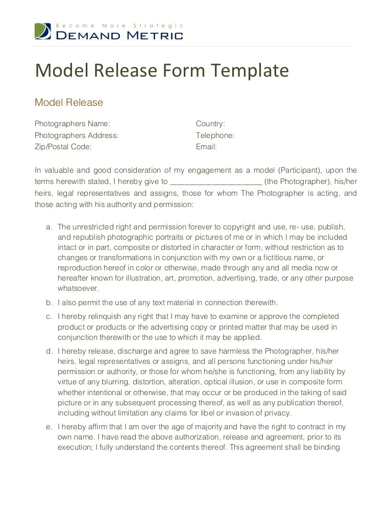 model release form template - Barebearsbackyard - photographer release form
