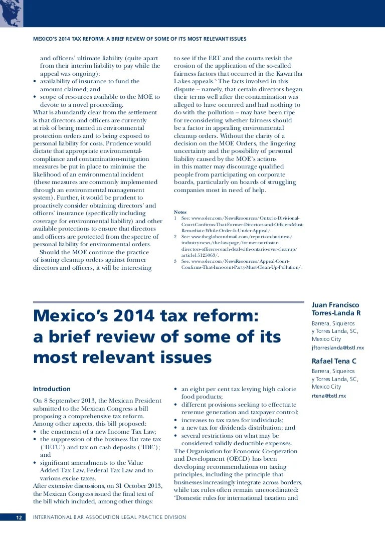 Hogan Lovells Bstl Mexico S 2014 Tax Reform A Brief Review Of Some Of Its Most Relevant