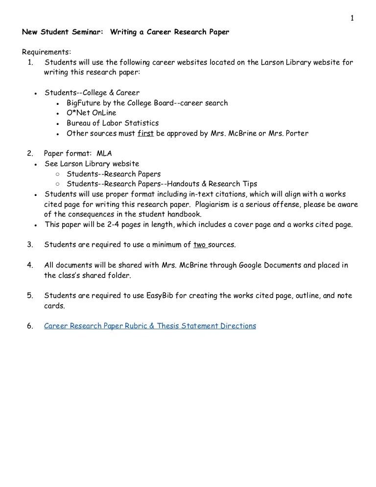 career research paper outline - Pinarkubkireklamowe