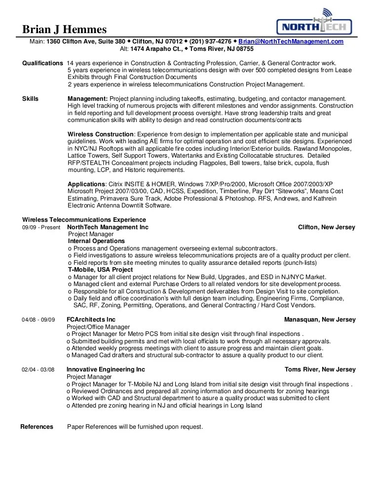 wireless project manager resume - Eczasolinf