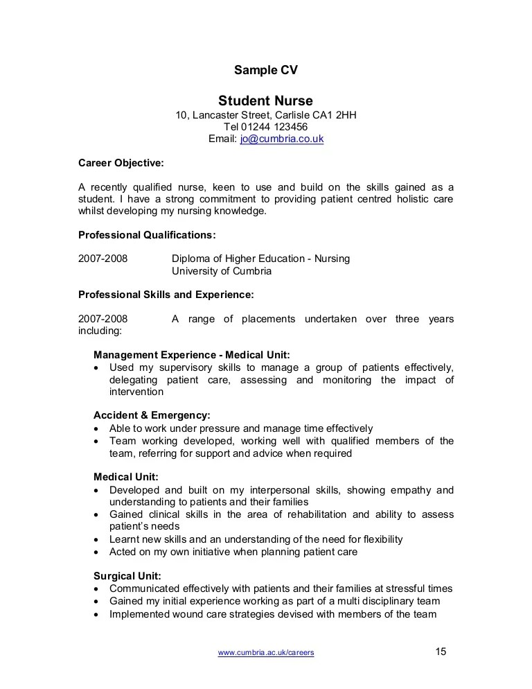 graduate nursing student resume template
