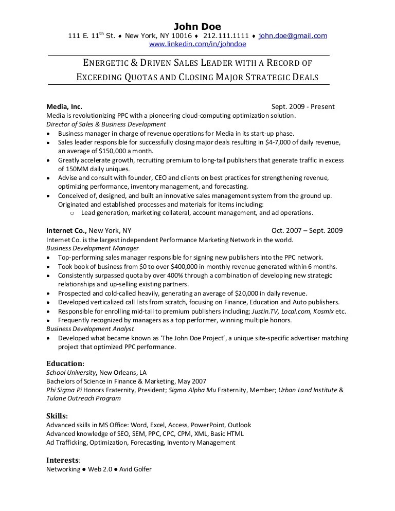 resume examples for b2b sales
