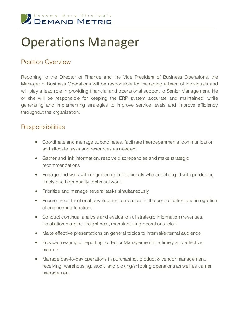 manufacturing manager job description sample - Intoanysearch