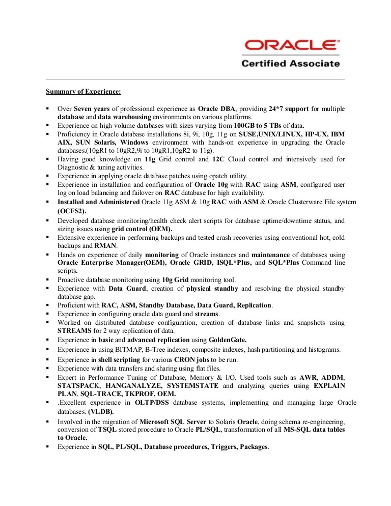 junior dba resume - Yenimescale