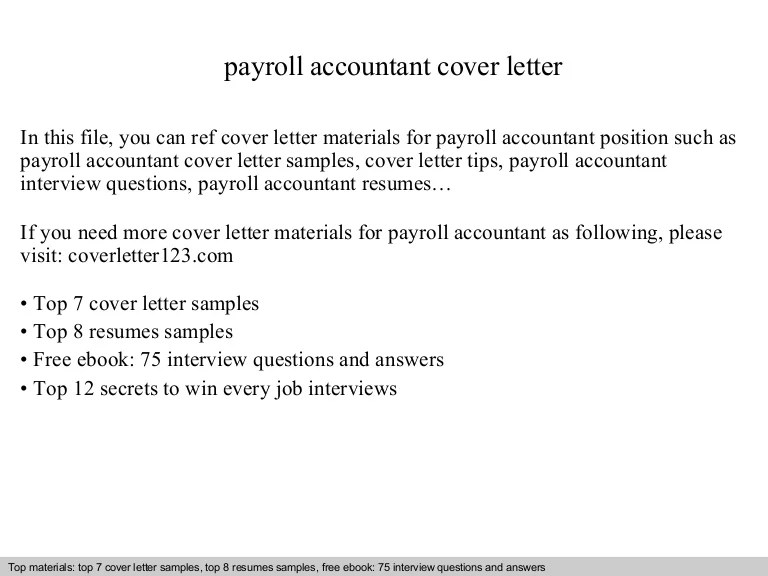 payroll accountant cover letter - Apmayssconstruction