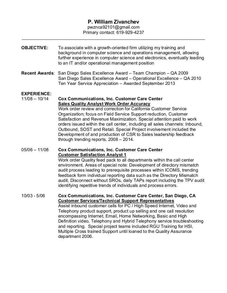 inbound customer service resume - Onwebioinnovate