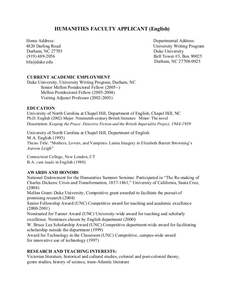 sample cv english professor