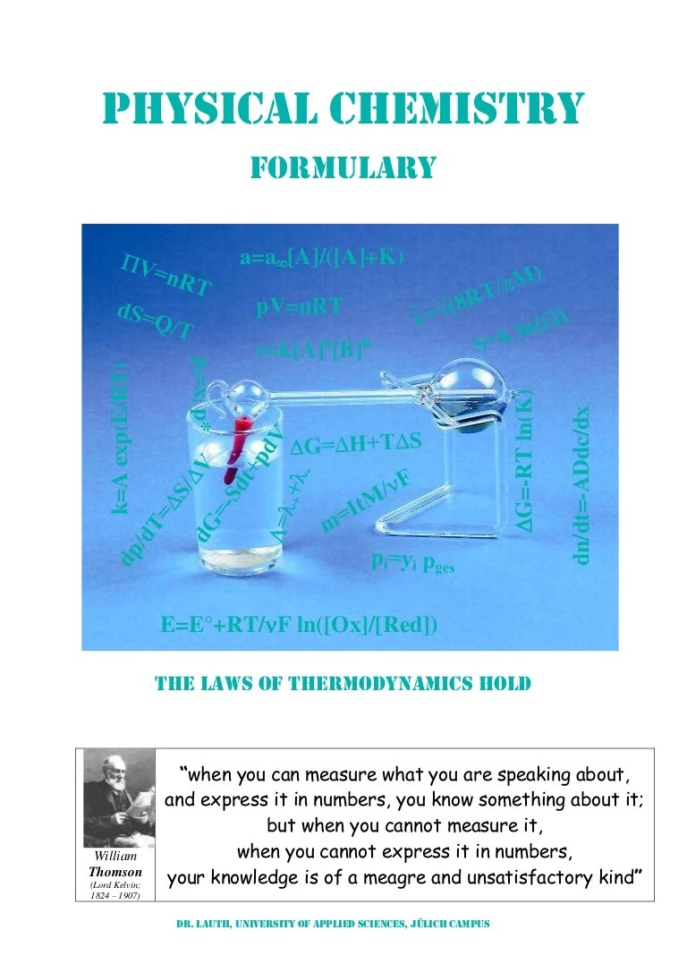 Viskosität Cp Mpas Physical Chemistry Formulary The Laws Of Thermodynamics Hold