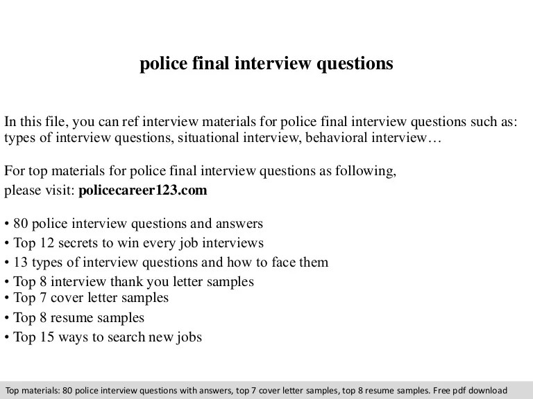 law enforcement interview questions - Demireagdiffusion