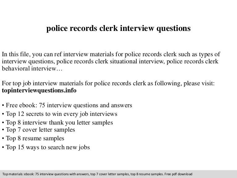Police records technician cover letter