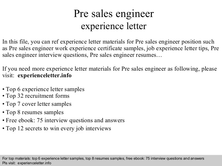 ... Pre Sales Engineer Resume   Baskanidai ...