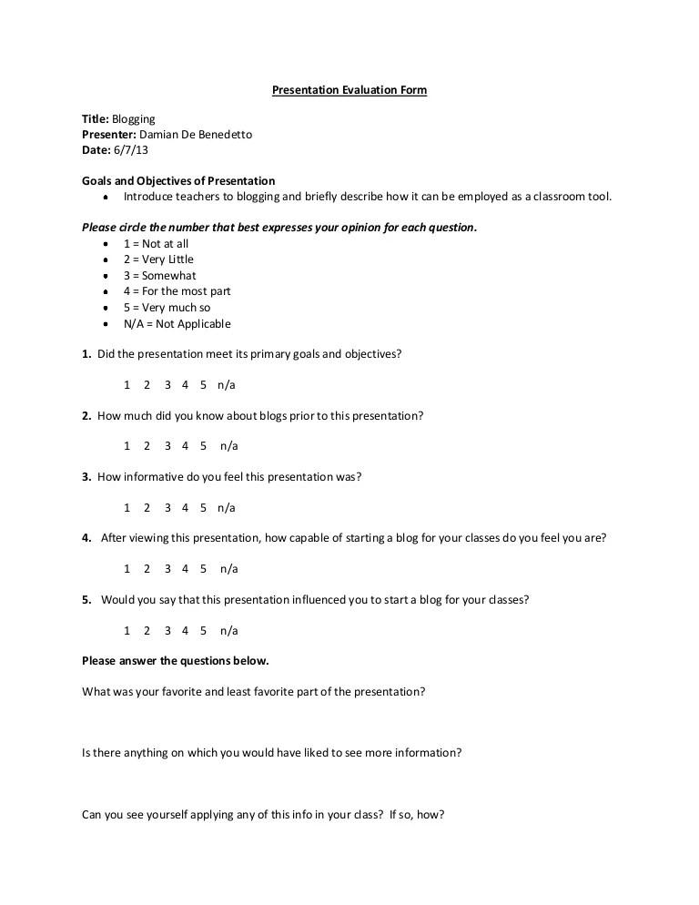 Class Evaluation Form Template - Eliolera - sample presentation evaluation form example
