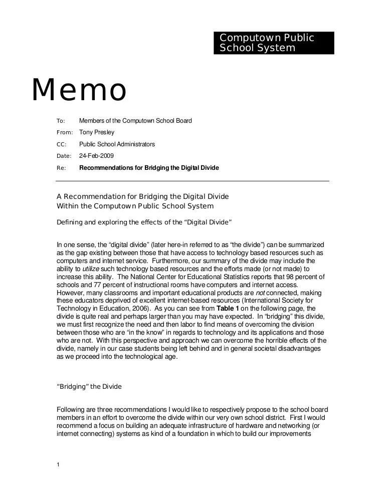 memo format with cc