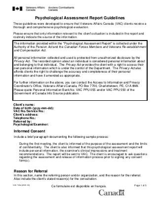 Psychological Assessment LinkedIn - psychological report