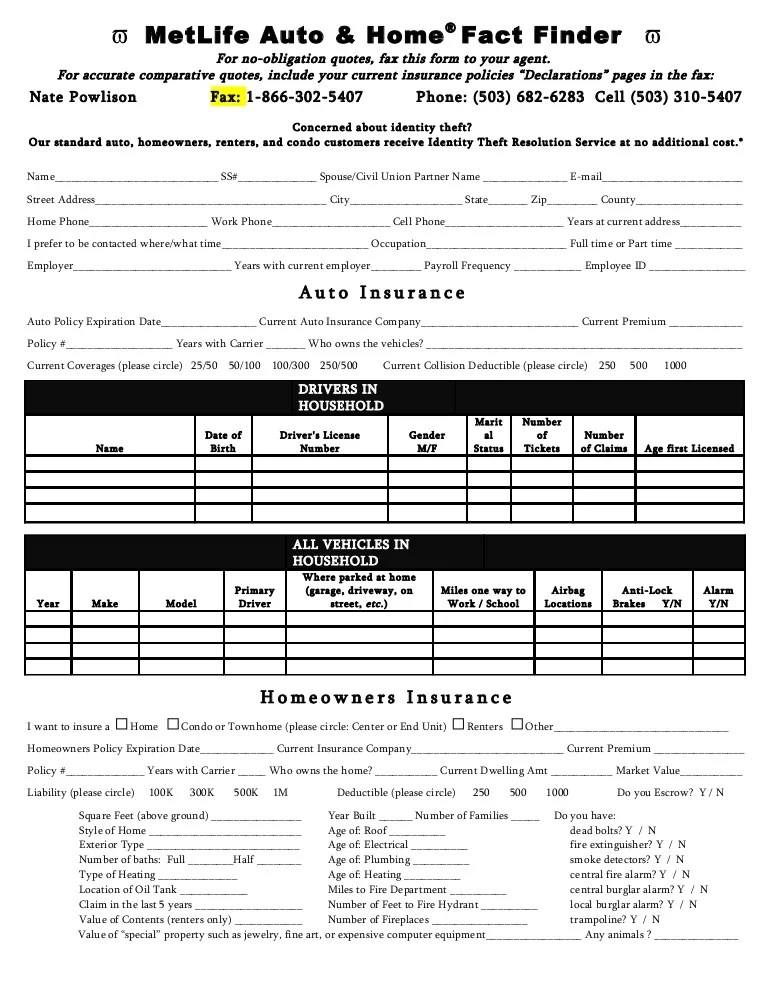 insurance quote sheets - Ibovjonathandedecker