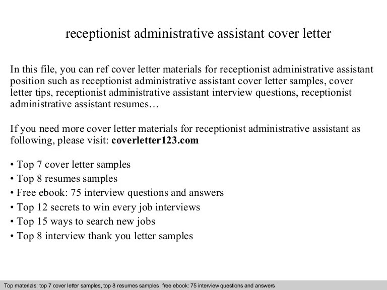 cover letter receptionist administrative assistant - Onwebioinnovate - cover letter for administrative assistant position