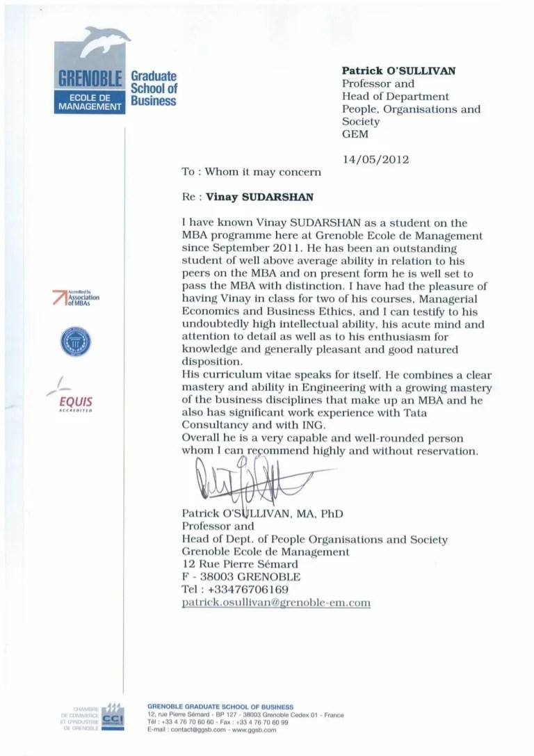 letter to professor