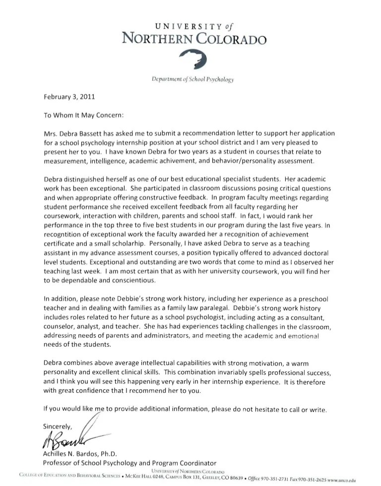 sample recommendation letter for mental health counselor - Jose