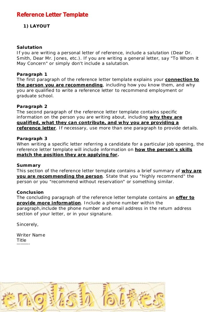 what a recommendation letter should look like