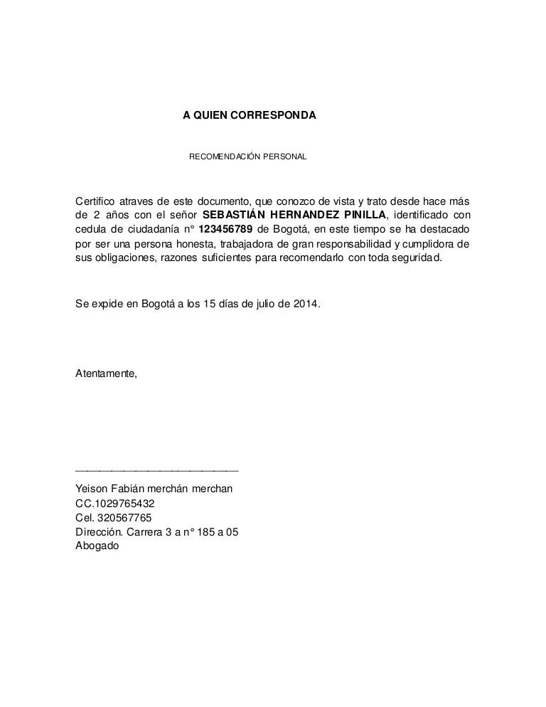 ejemplos de cartas de recomendacion familiares - Keni - formato carta referencia familiar