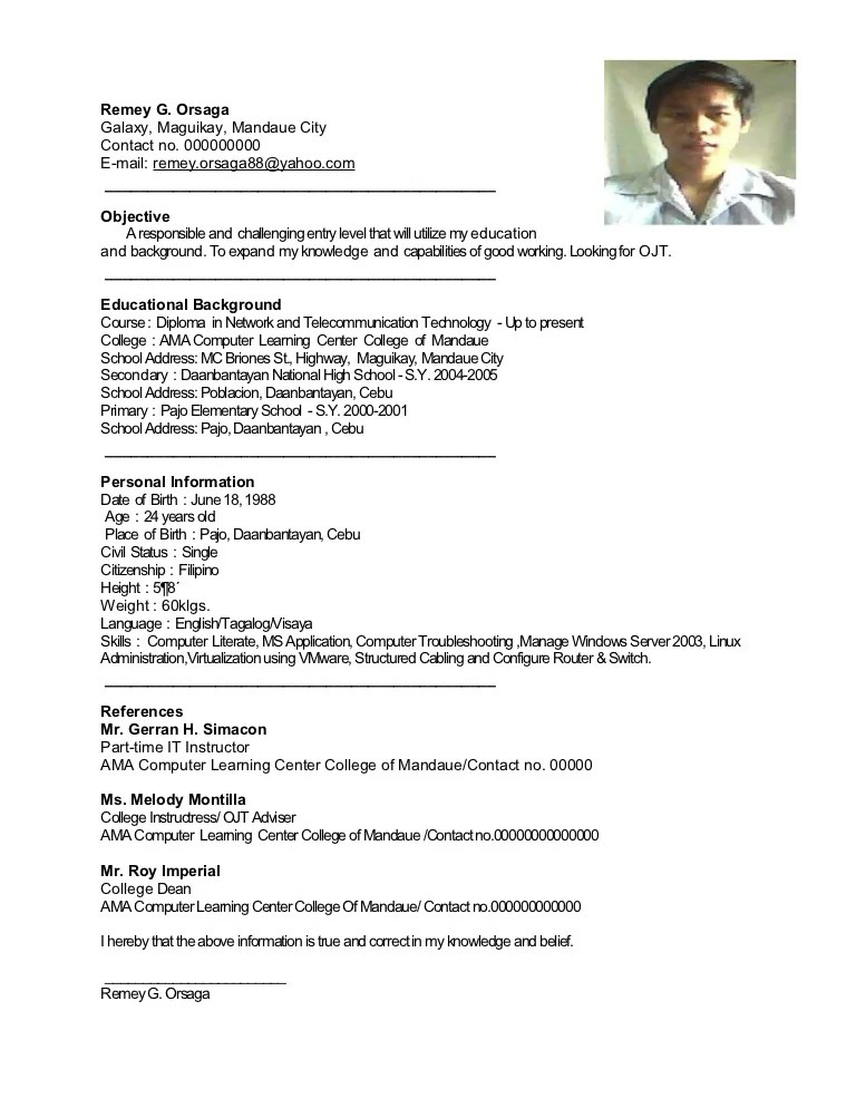 how to make a resume for ojt sample