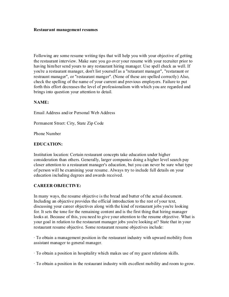 restaurant resume objective statement - Canasbergdorfbib