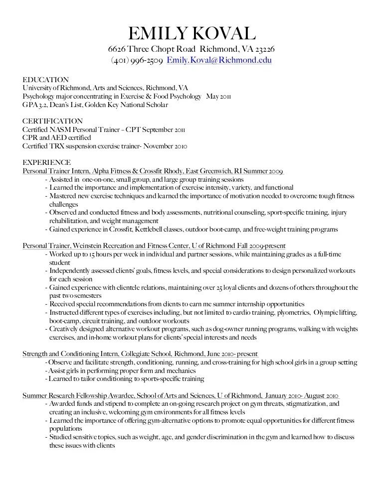 strength and conditioning resume examples - Josemulinohouse - personal training resume examples