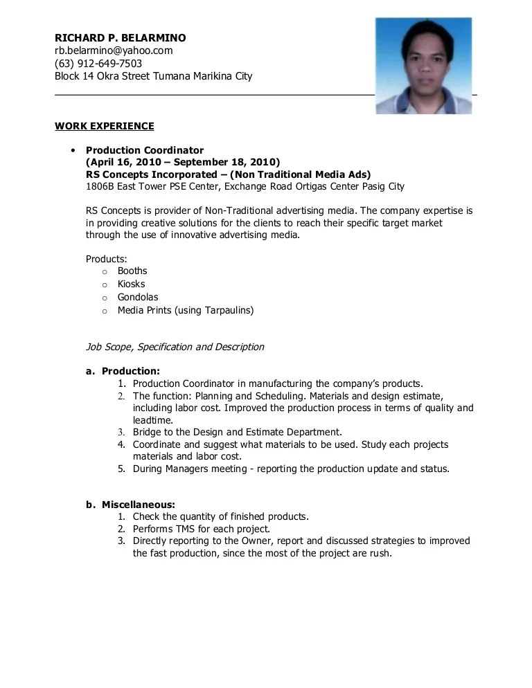 example resume for working students