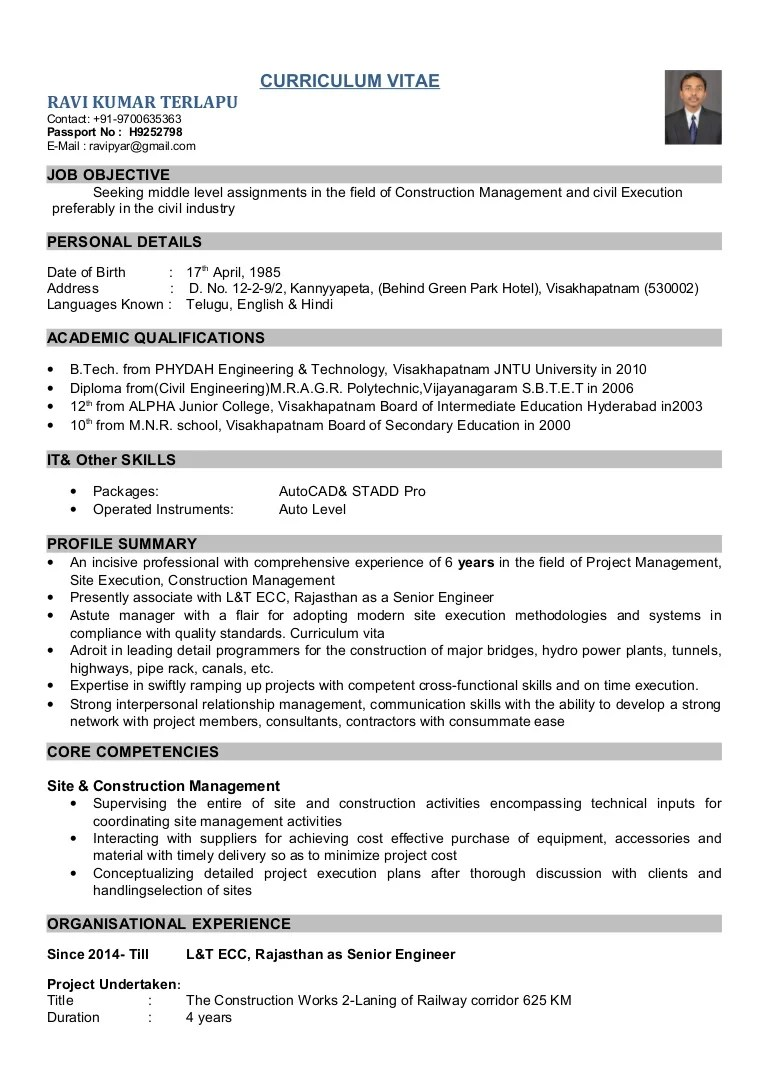 civil engineer sample resume
