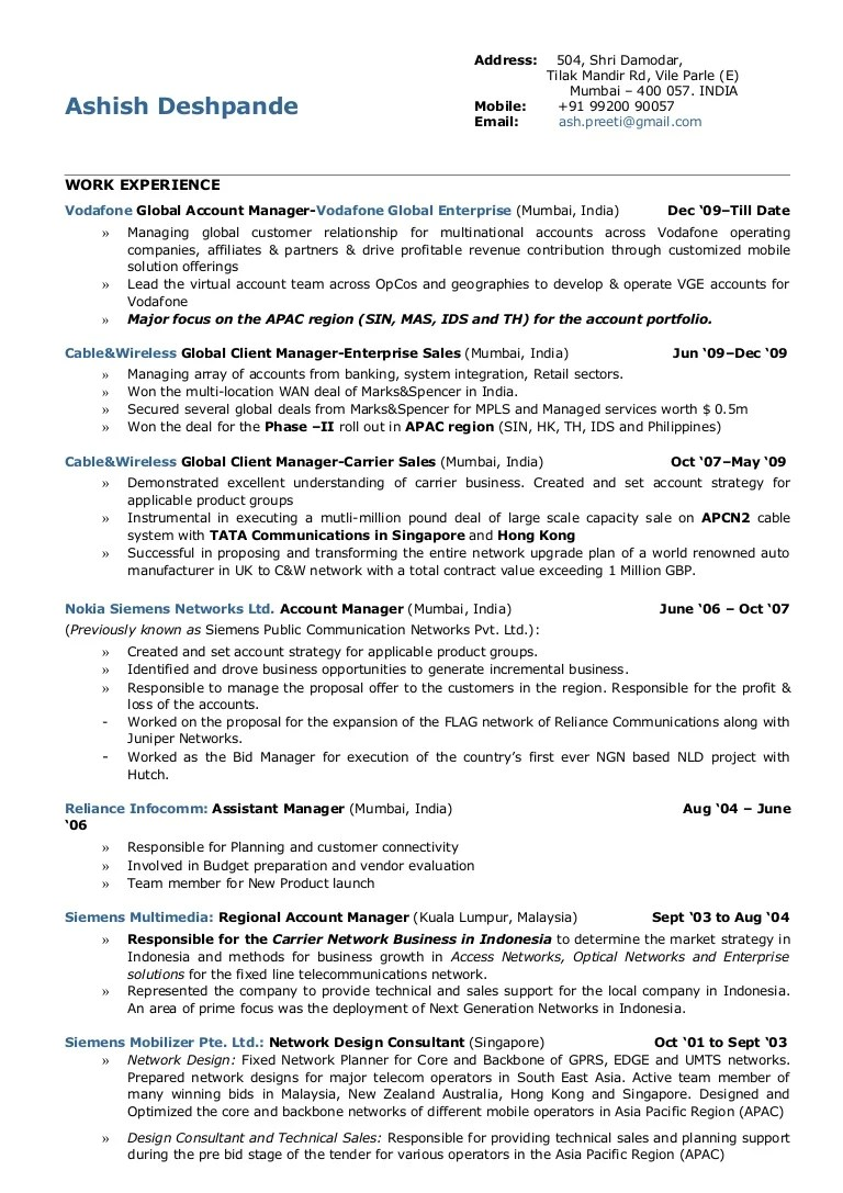 performance profile resume