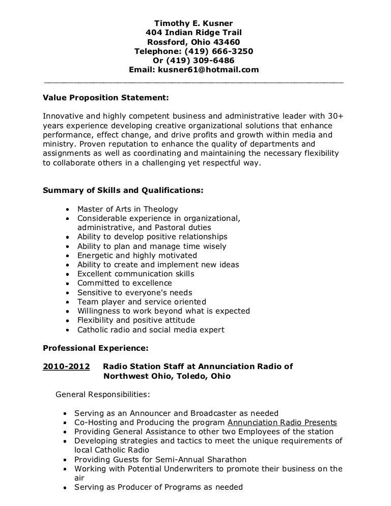 resume value proposition - Onwebioinnovate