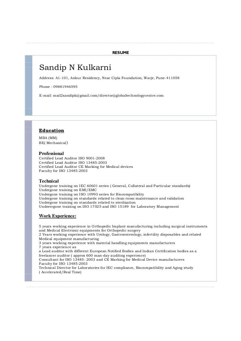 internal auditor resume