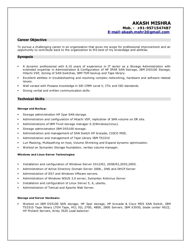 business admin resume