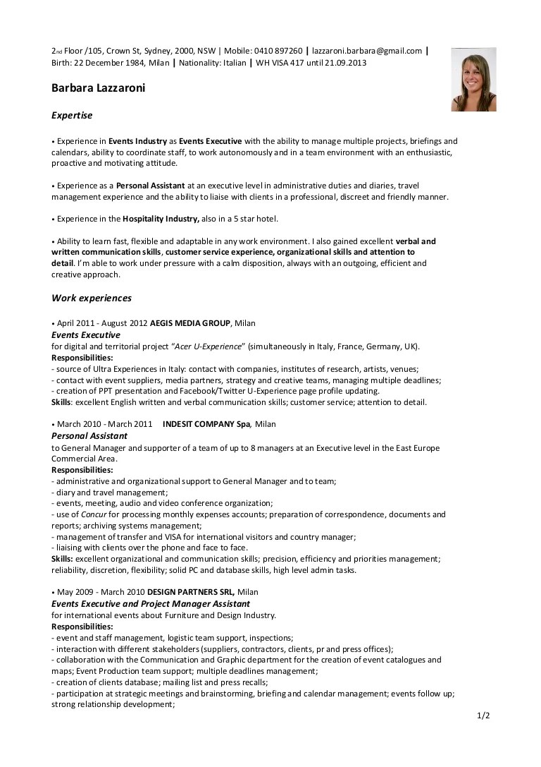 resume cover letter examples hospitality management