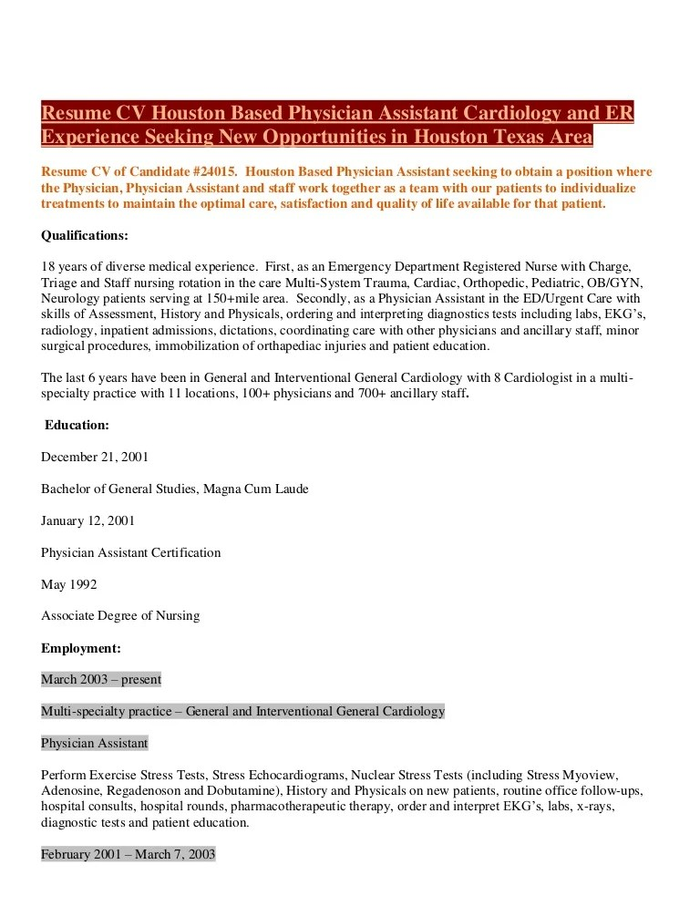 pa resumes - Intoanysearch - physician resume samples