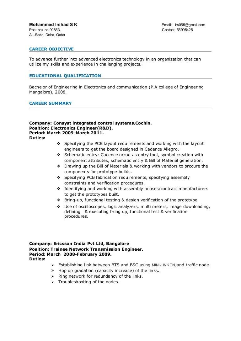 technical resume samples for freshers