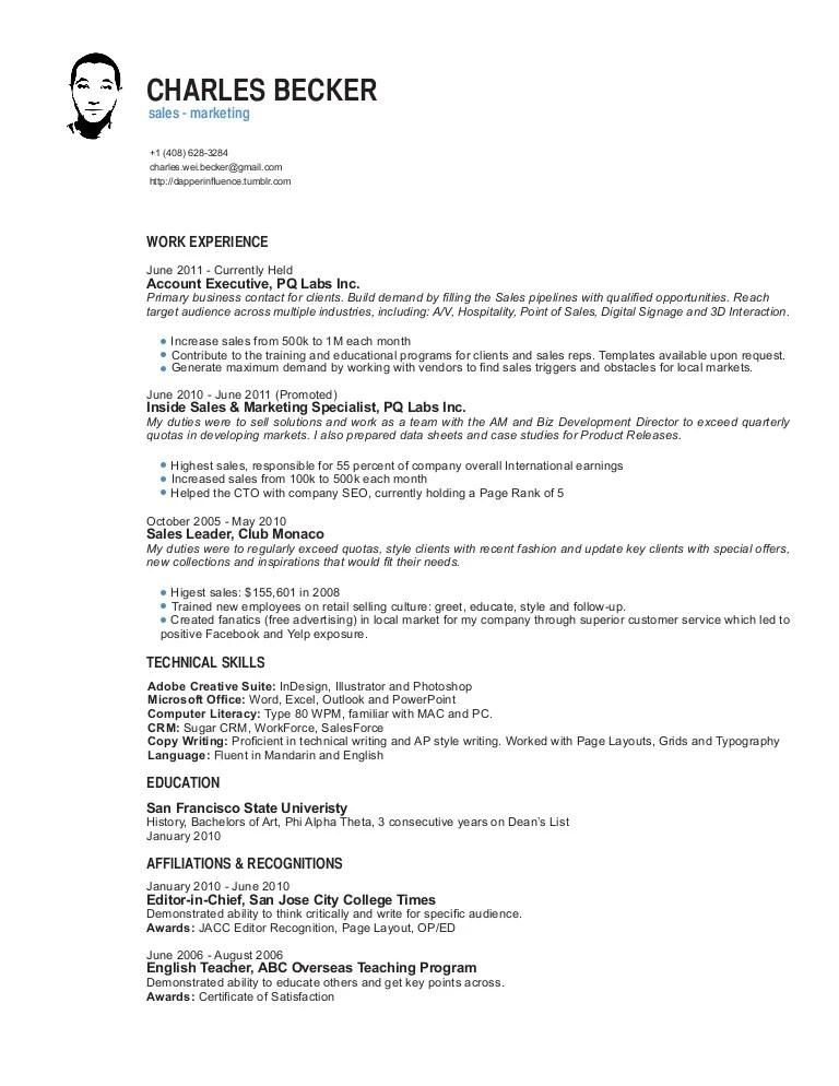 b2b sales resume - Minimfagency - sales resumes
