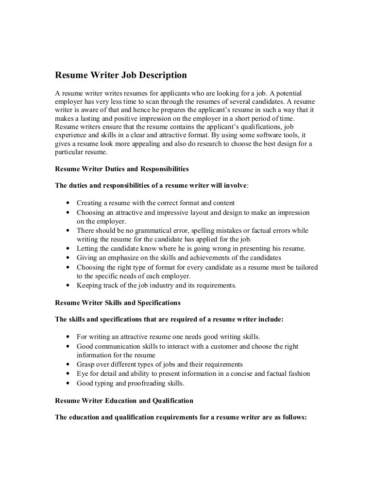 resume writing positions