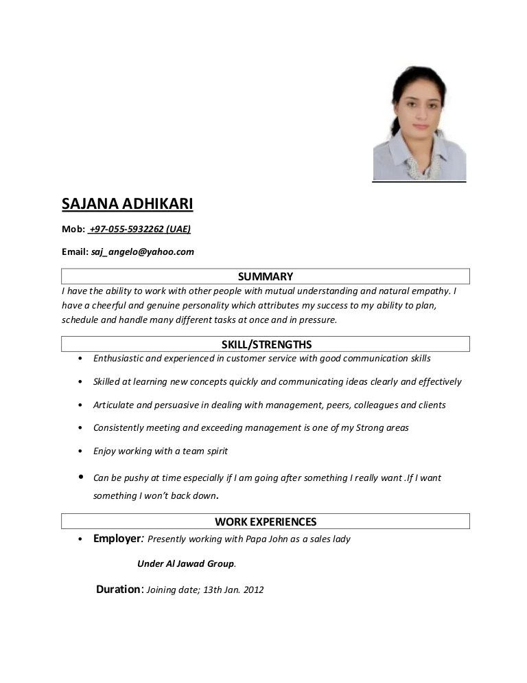 sample resume for sales lady position