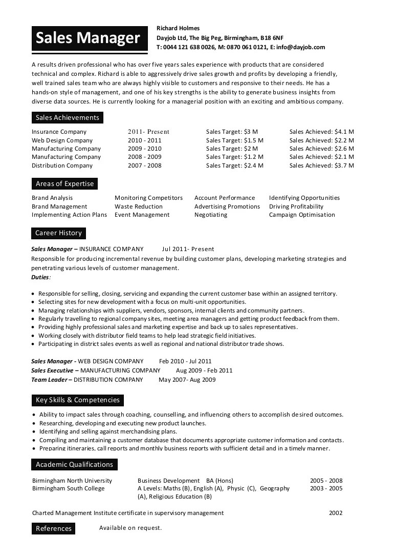 sales office manager cv