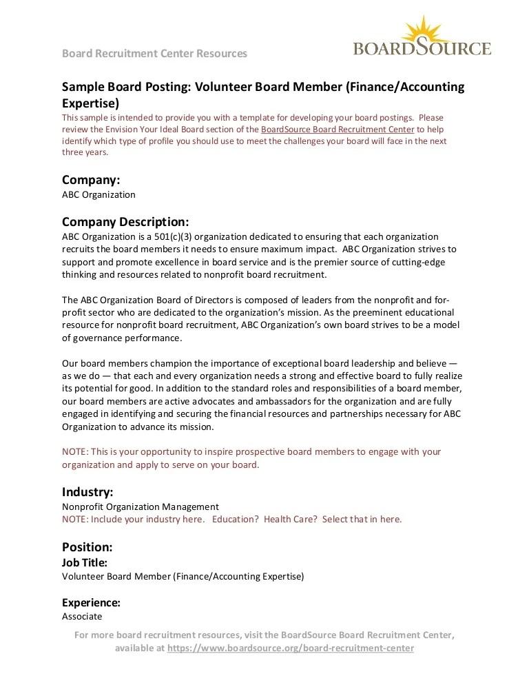 resume for volunteer board