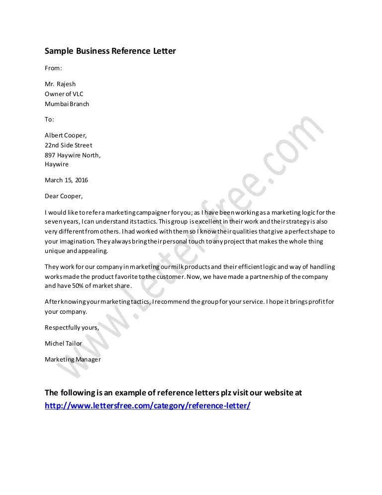 business reference letter sample - Towerssconstruction