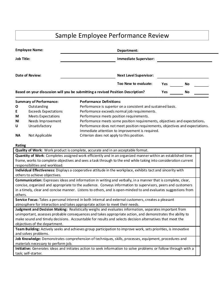 examples of performance review