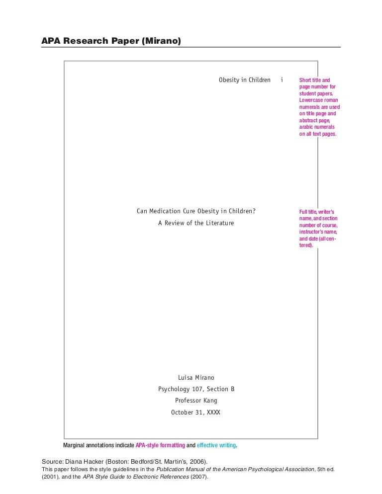 apa format research report