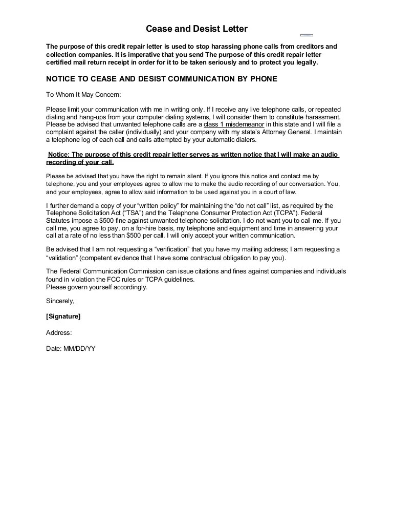 cease and desist letter to creditors - Athiykhudothiharborcity - cease and desist template